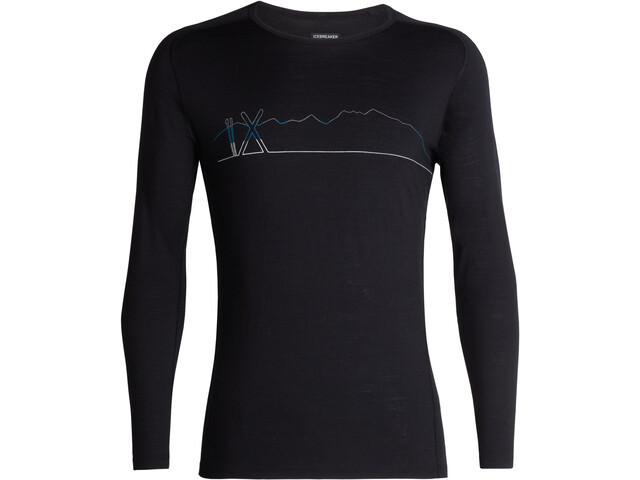 Icebreaker 200 Oasis Deluxe Single Line Ski Raglan LS Crew Shirt Men Black